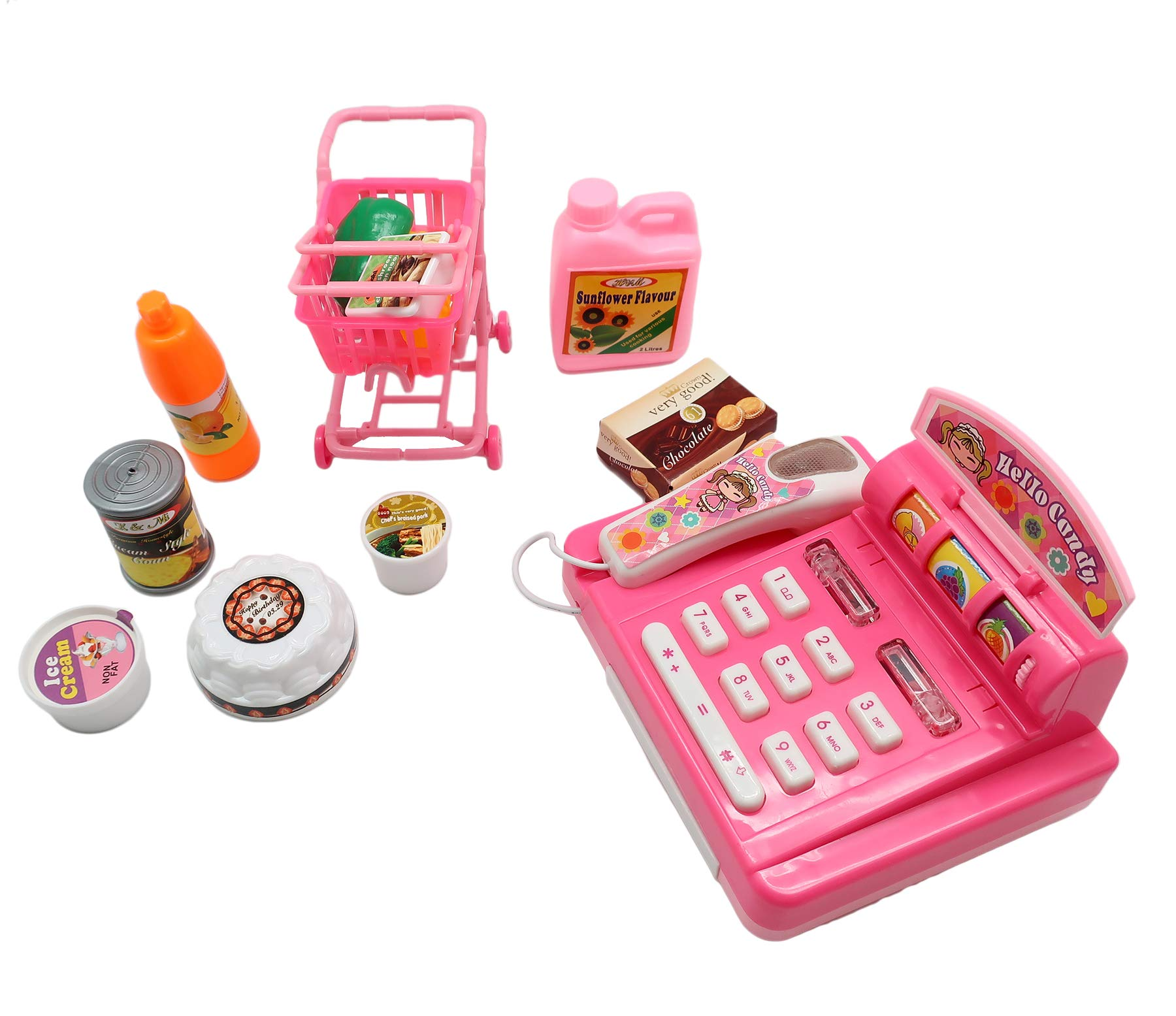 Mini Shopping Set for Kids - Ideal Pretend Play Kit for 3+- Features Realistic Miniature Grocery Store Items, Cash Register, Shopping Cart ~ Great Birthday