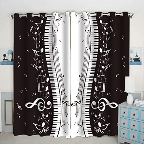 QH Piano Keys Musical Notes Window Curtain Panels Blackout Curtain Panels Thermal Insulated Light Blocking 42W x 84L inch Set of 2 Panel