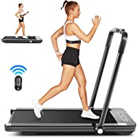 Funmily 2-in-1 Folding Under Desk Treadmill with LED Display and Remote Control (Black)