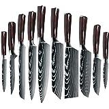 ZENG Kitchen Knife Set,Professional Chef Knife, German High Carbon Stainless Steel Chef Knives, Ergonomic Pakkawood Handle