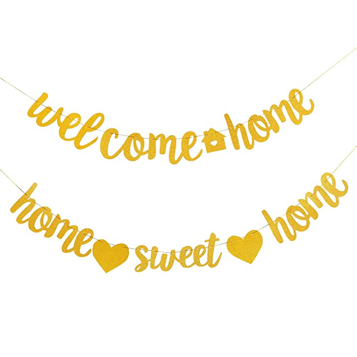 2 Pieces Welcome Home Banner Home Sweet Home Banner Housewarming Banner for School Welcome Party Family Party Decoration,Gold