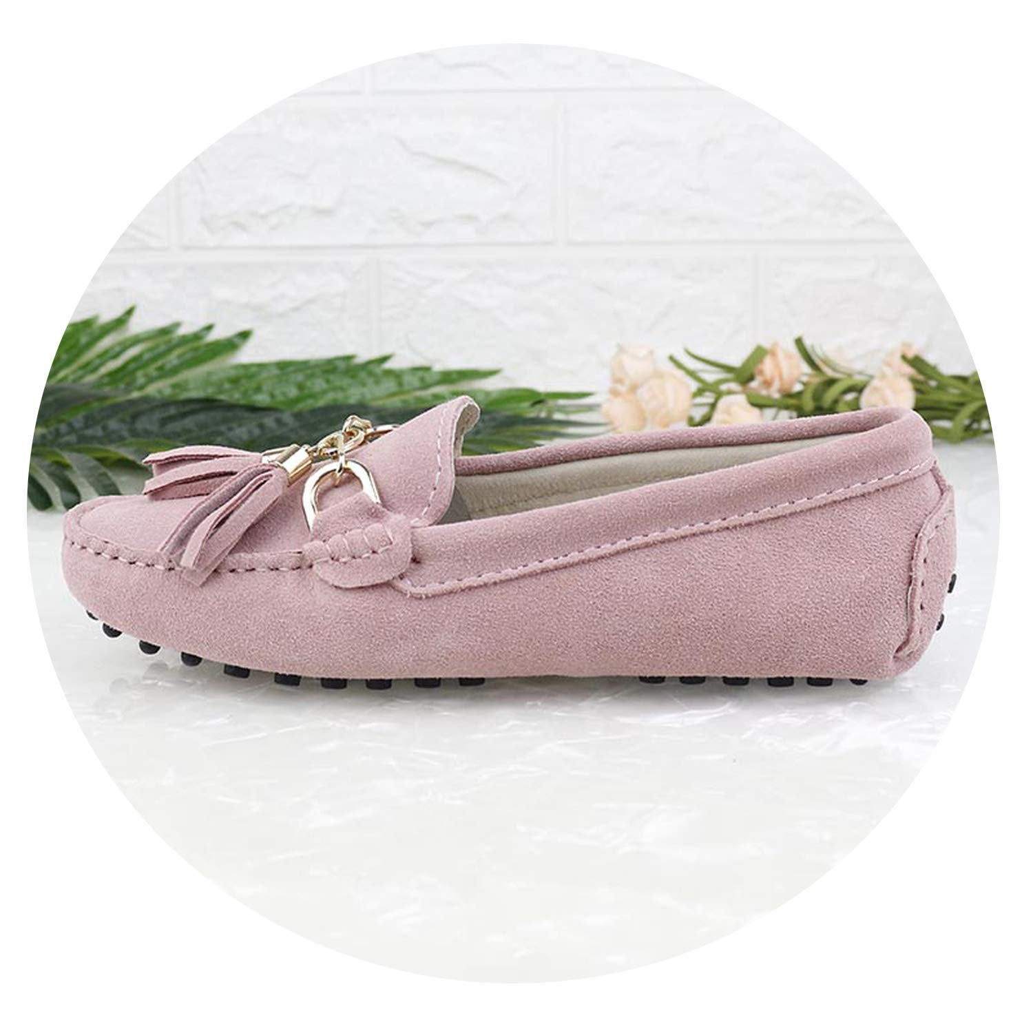 Pink Fashion Women Lady Leather Loafers Casual Driving shoes Women Flats shoes