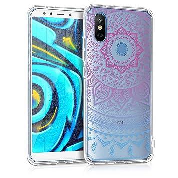 kwmobile Funda para Xiaomi Mi 6X / Mi A2 - Carcasa de TPU para móvil y diseño de sol hindú en azul / rosa fucsia / transparente