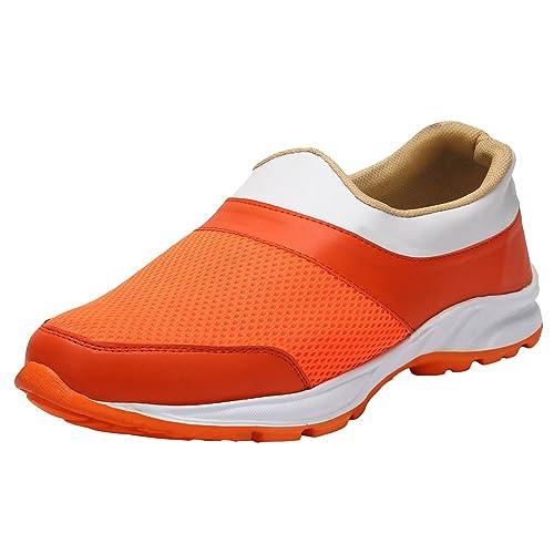 1dc370ba9034 LS Men Trendy Stylish Orange and White Sports Running Slip on Shoes ...