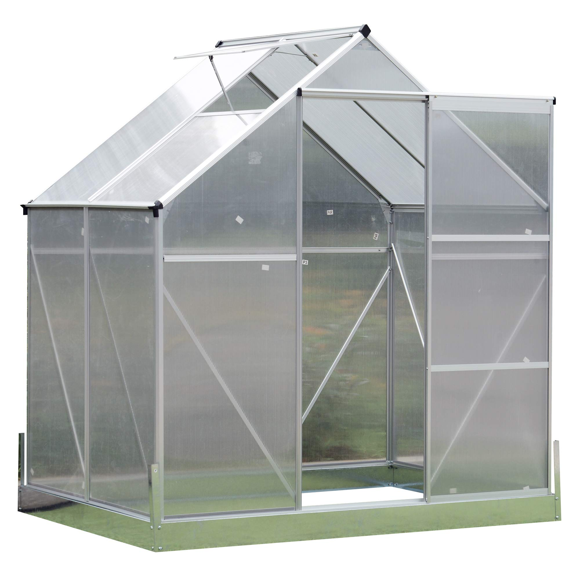 Outsunny Aluminum 4.25' L x 6.25'W x 7.2'H Polycarbonate Portable Walk-in Garden Greenhouse