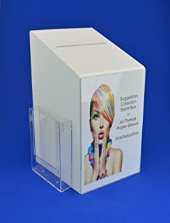 Collection Box Acrylic with A5 Leaflet Holder BB0017 White LH Suggestion Box
