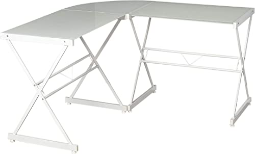 Target Marketing Systems Atrium Computer Tempered Glass Metal Frame Home Office Gaming L-Shaped Writing Study Desk