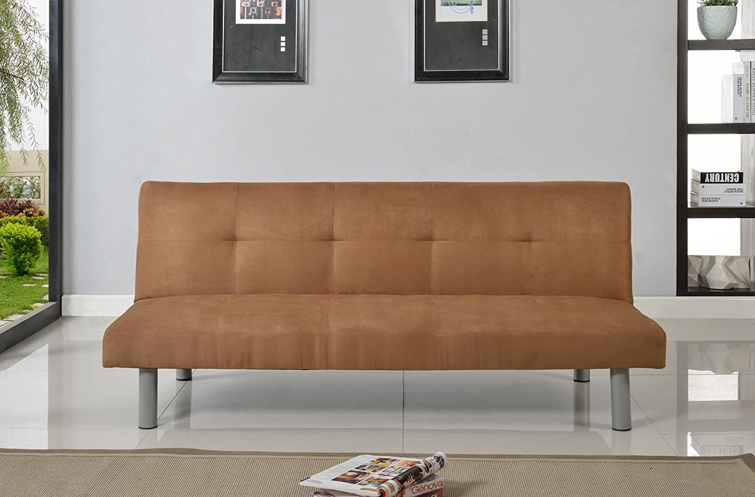 Faux Suede 3 Seater Quality Sofa Bed - Click Clac fabric sofabed in CINNAMON Comfy Living