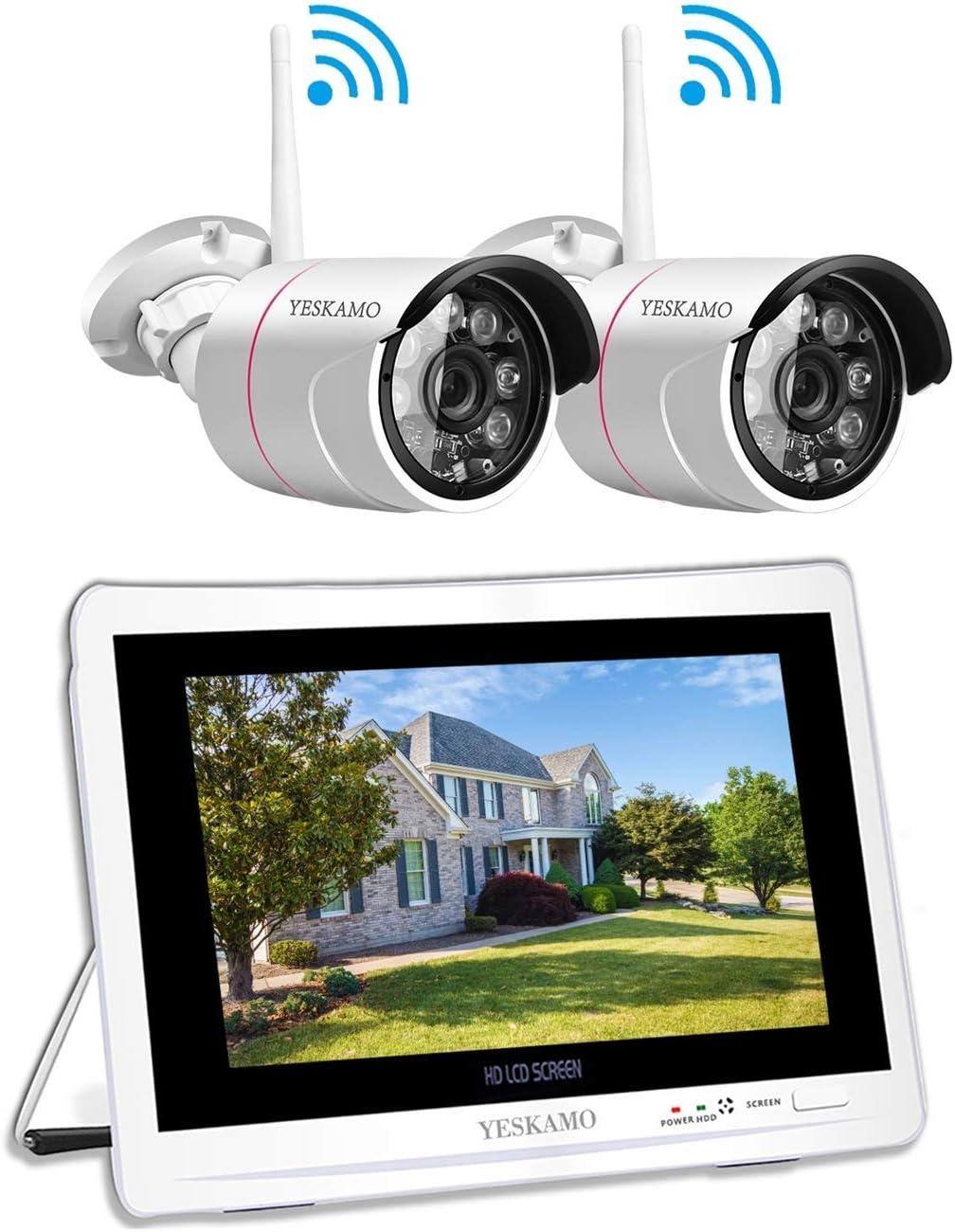 Überwachungskamera Set Aussen WLAN mit 9 Zoll Monitor, YESKAMO  Videoüberwachung NVR Funk Überwachungssystem mit 9TB Festplatte, 9m  Nachtsicht,