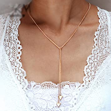 Alloy Gold Geometry Triangle 3 layers Coin Chain Necklace Fashion Party Jewelry