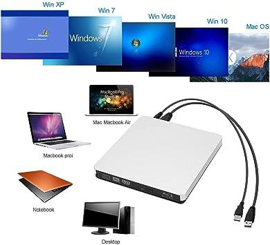 KuWFi - Grabador de CD/DVD externo USB 3.0 Blu Ray, 4 K, Blu-Ray ...