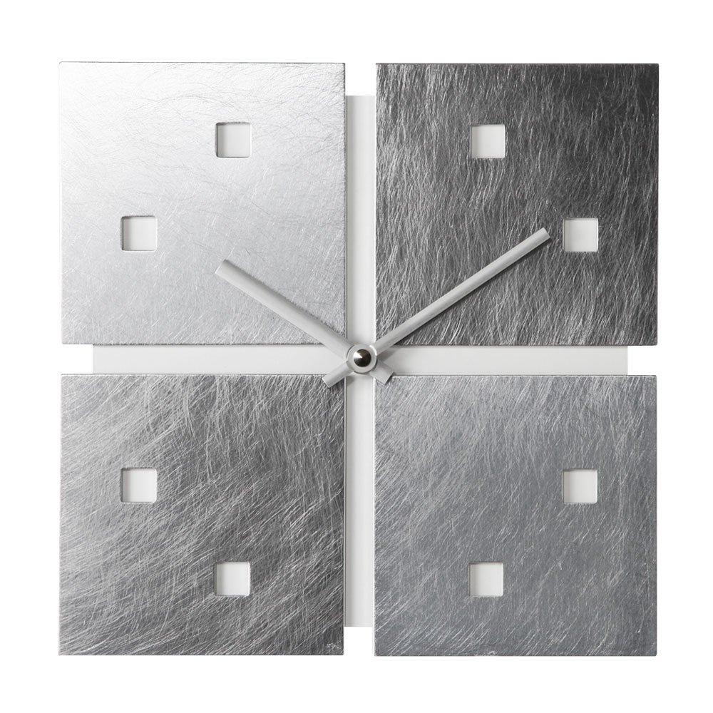 日本製 ウォールクロック 壁掛け時計 デザイン 時計 シンプル アナログ時計 スクエア 壁掛 掛時計 ホワイト B00UYSNONSホワイト