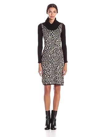 5c2f64fb1a Calvin Klein Women s Long-Sleeve Animal-Print Sweater Dress at ...
