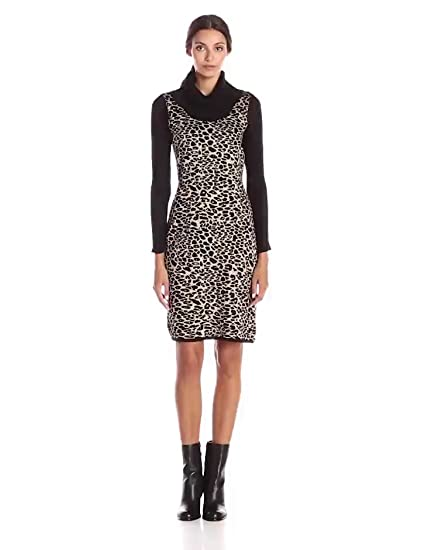 d2a1a4f0ed Calvin Klein Women s Long-Sleeve Animal-Print Sweater Dress at Amazon  Women s Clothing store