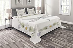 Ambesonne Dragonfly Bedspread, Vintage Retro Farm Life Inspired Moth with Daisies Lilies Leaves Image, Decorative Quilted 3 Piece Coverlet Set with 2 Pillow Shams, Queen Size, Lilac Green