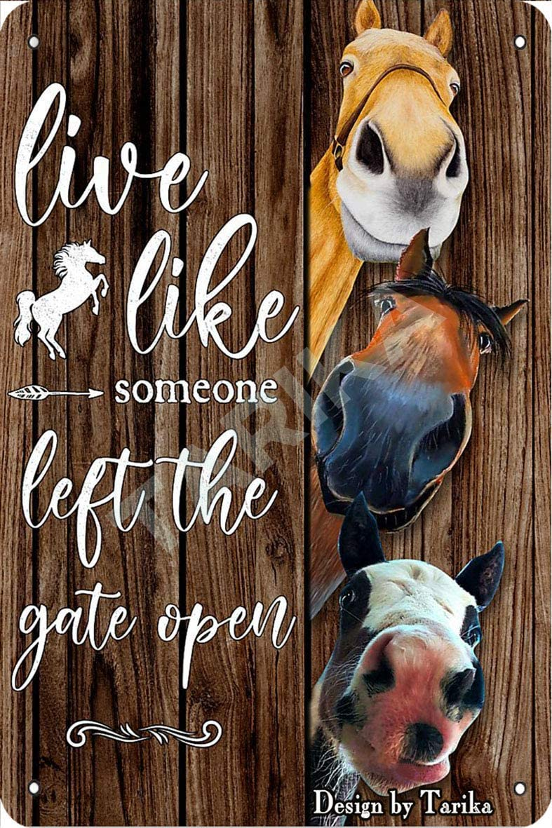 Live Like Someone Left The Gate Open Horse Tin Vintage Look 8X12 Inch Decoration Art Sign for Home Kitchen Bathroom Farm Garden Garage Inspirational Quotes Wall Decor