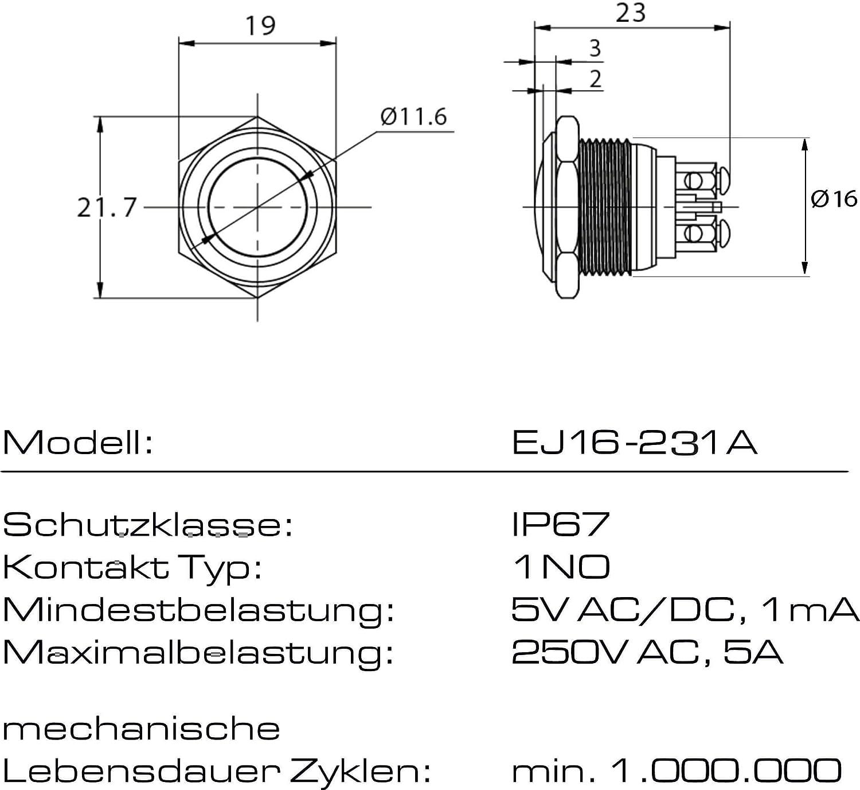 Superficie tattile ad arco a pulsante acciaio inossidabile /Ø 16mm Tipo di contatto adatto per uso interno ed esterno tattile