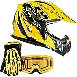 Youth Kids Offroad Gear Combo Helmet Gloves Goggles DOT Motocross ATV Dirt Bike MX Motorcycle Yellow, Medium