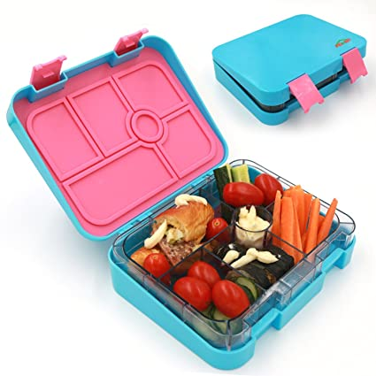 2904551a0efa AOHEA Kids School Lunch Box 6 Compartment, Plastic Adults Bento Box , Food  Storage Container, Microwave Dishwasher Safe, Christmas Gifts Kids, Blue,  ...