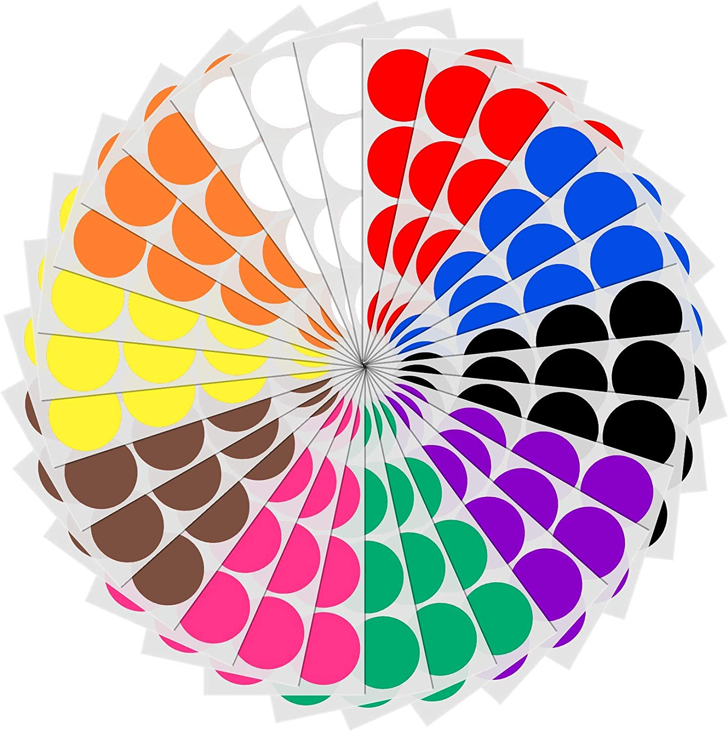 """2"""" Round Color Coding Circle Dot Sticker Labels - 10 Assorted Colors, Pack of 240"""