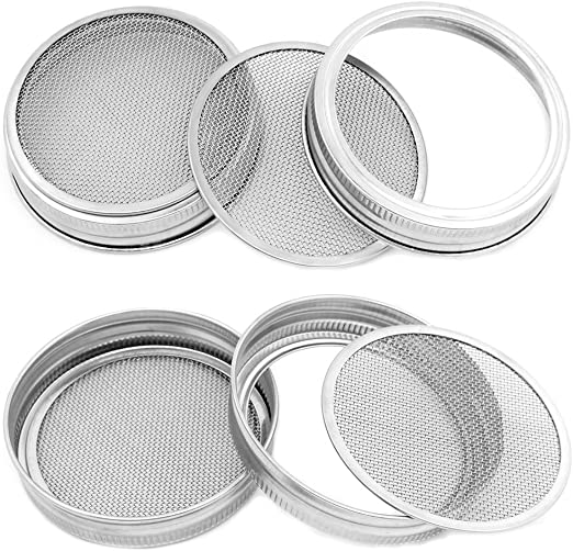 Detachable 2 in 1 Superb Ventilation Strainer Lids for Making Organic Sprout Seeds Stainless Steel Sprouting Lids Special for Mason Jar