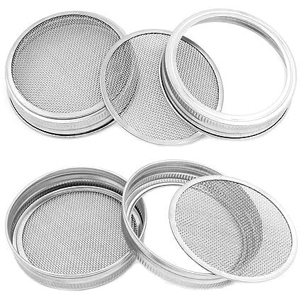 TIMGOU - Juego de 4 tapas para tarro de boca ancha (acero inoxidable, 2