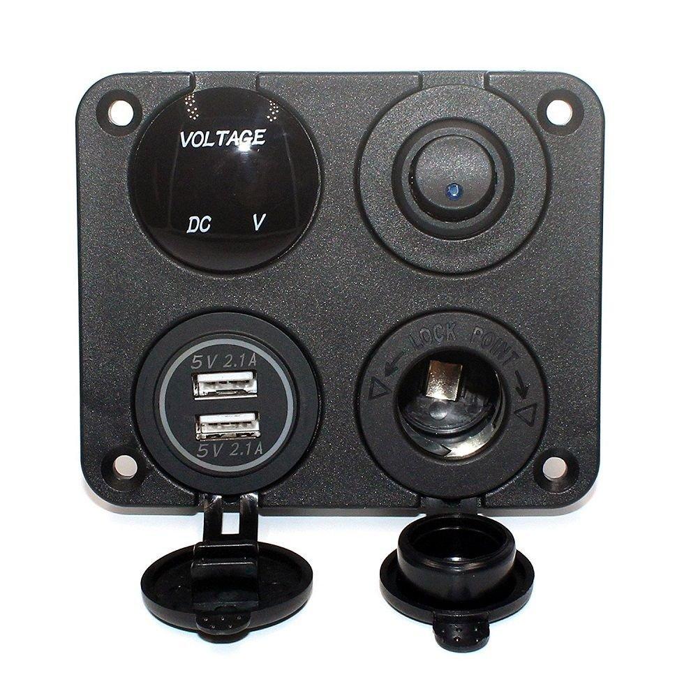 Moligh doll Panel de 4 Funciones Cargador Dual USB Interruptor de Encendido//Apagado Toma de Corriente 12V voltio LED Verde