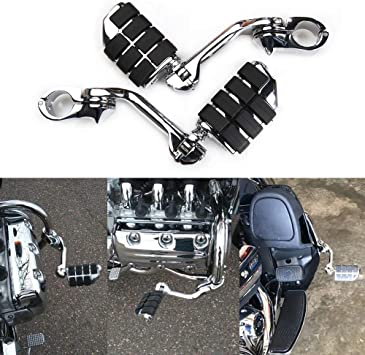 Rich Choices 1.25 32mm Long Angled Adjustable Highway Foot Pegs Crash Bar Mount Compatible with Harley