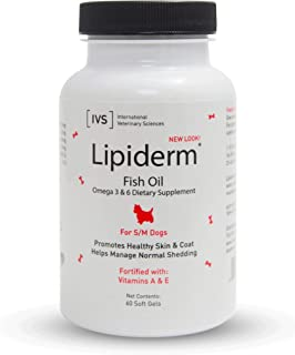 product image for International Veterinary Sciences IVS Lipiderm Skin and Coat Fish Oil Omega 3 and 6 Dietary Supplement, Made in The USA