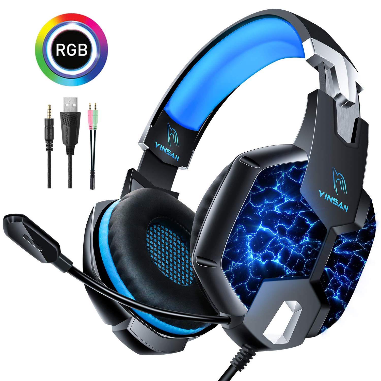 Casque Gaming PS4, YINSAN Casque Gamer Xbox One avec Micro Anti Bruit, Casque PC pour Stéréo Bass LED avec connecteur 3.5mm Compatible pour Xbox One / PC / Ordinateur portable / Tablette / Smartphone