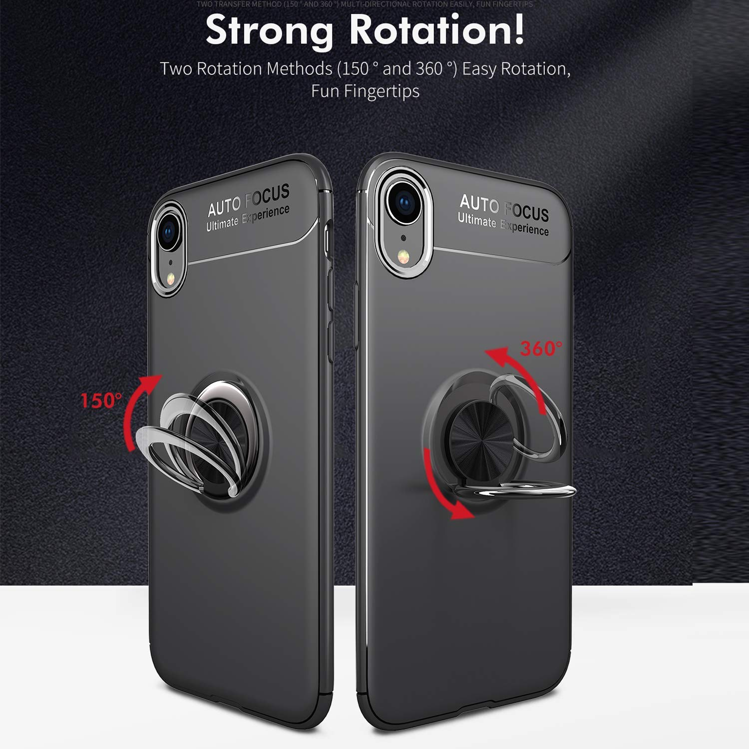 Frosting Thin Soft Shockproof Protective and Ring Holder Metal Kickstand Fit Car Mount Cover for Apple iPhone XR Newseego Compatible iPhone XR Case,360 Degree Adjustable Ring Stand Black+Red