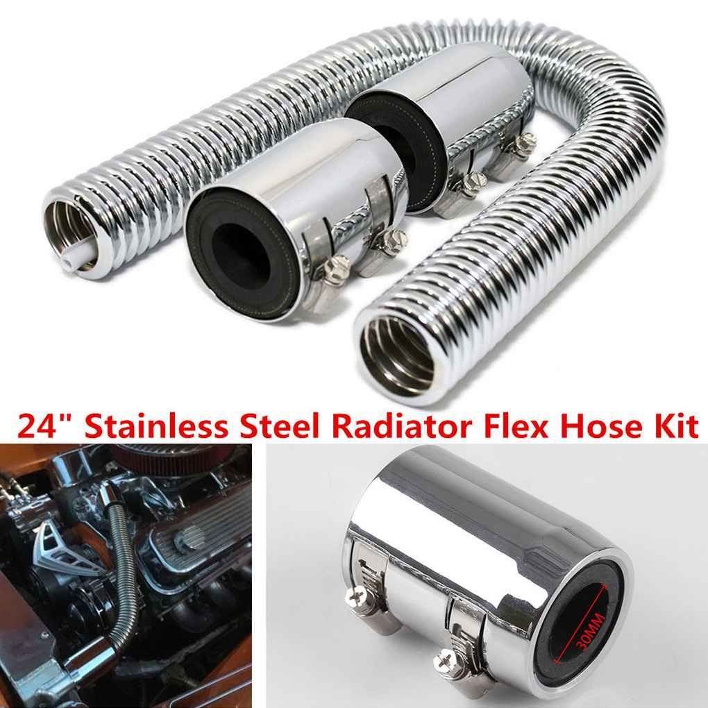 Egal 24inch Universal Stainless Steel Radiator Flex Coolant Water Hose Kit with Caps Radiator Cover