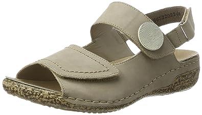 Rieker Damen V7272 Offene Sandalen mit Keilabsatz