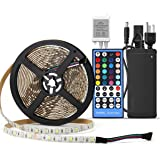 SUPERNIGHT RGBW LED Strip - 16.4FT 5050 RGB + Cool White Color Changing Flexible Rope Lights Waterproof 300 LEDs TV Back Lighting with Remote Controller and 12V Power Supply