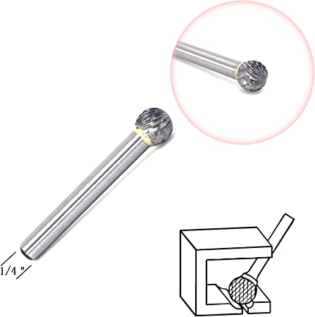 "Aluminum SE5NF 1//2/"" X 7//8/"" Oval Carbide Burr 1//4/"" Shank"