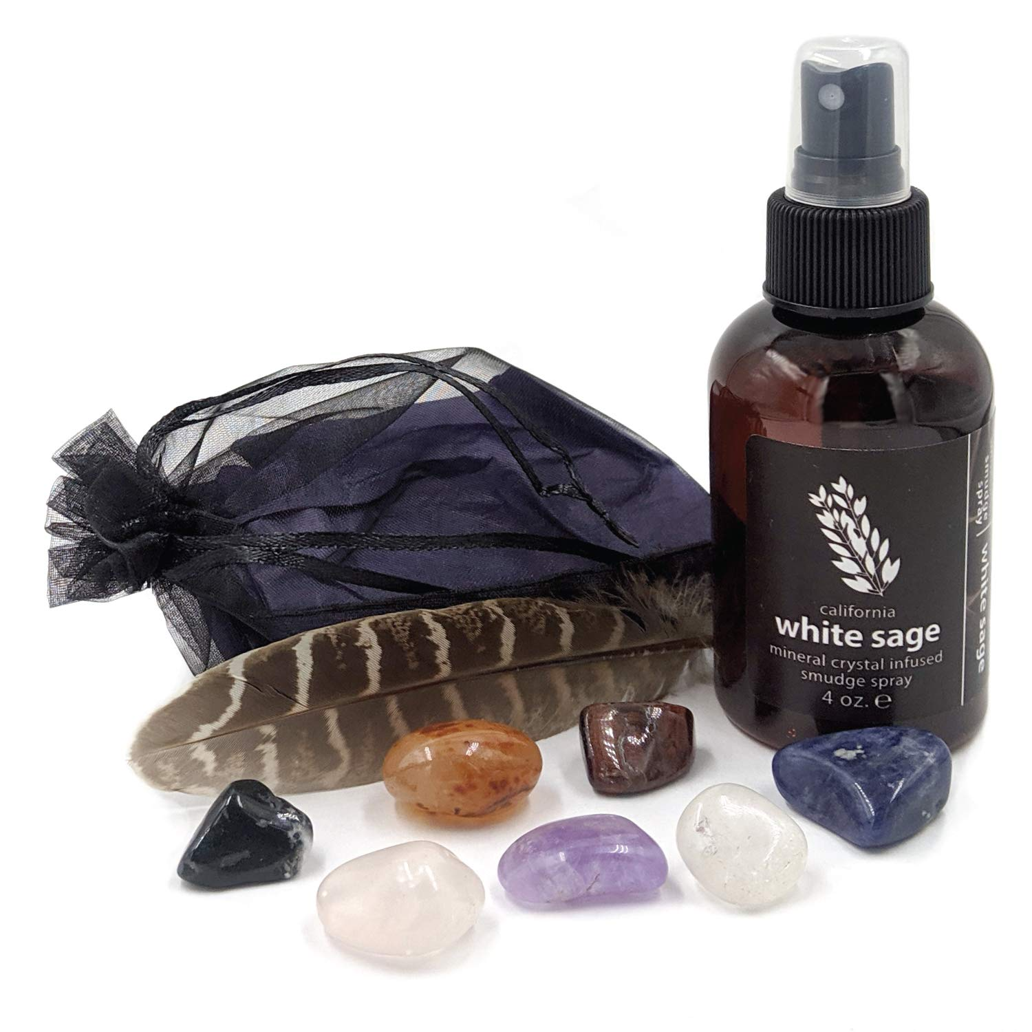California White Sage Smudge Spray + Chakra Stone Set | Smokeless Smudging Alternative