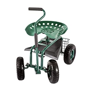Peach Tree Garden Cart Rolling Work Seat Outdoor Utility Lawn Yard Patio Wagon Scooter for Planting Adjustable 360 Degree Swivel Seat Green