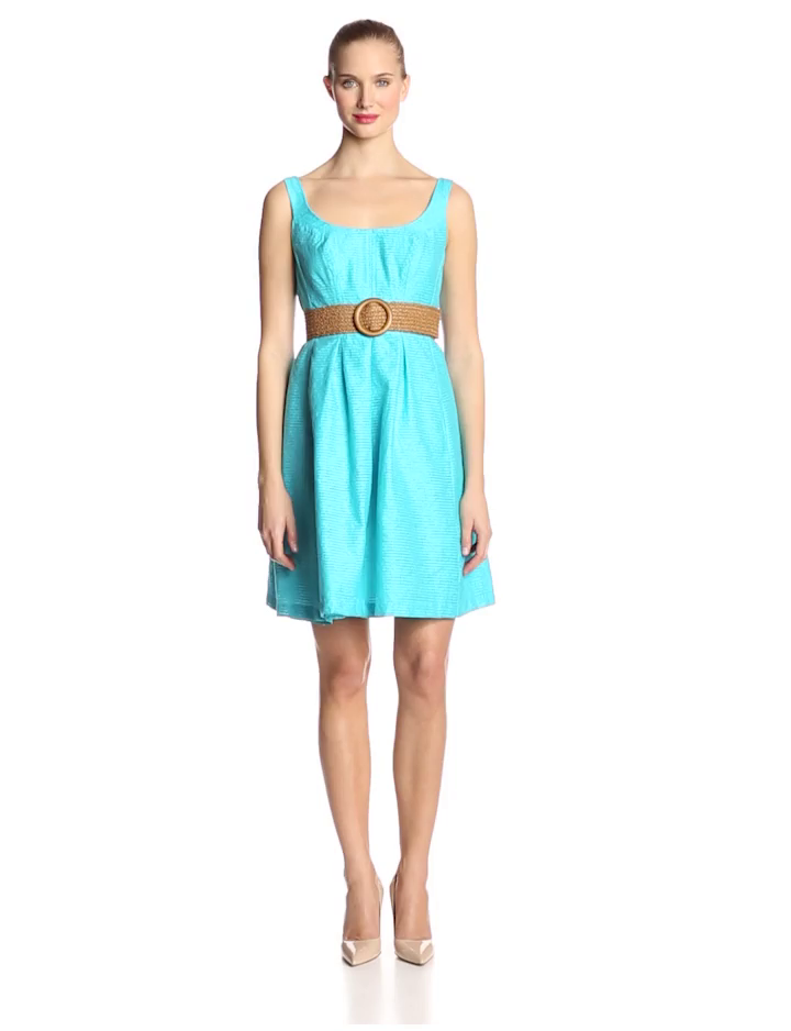 Nine West Women's Pleated Topstitch Dress with Pleats, Aqua, 2