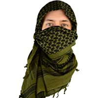 Mato & Hash Men's Cotton Military Shemagh Tactical Head Wrap Scarf (Olive Drab, Single)