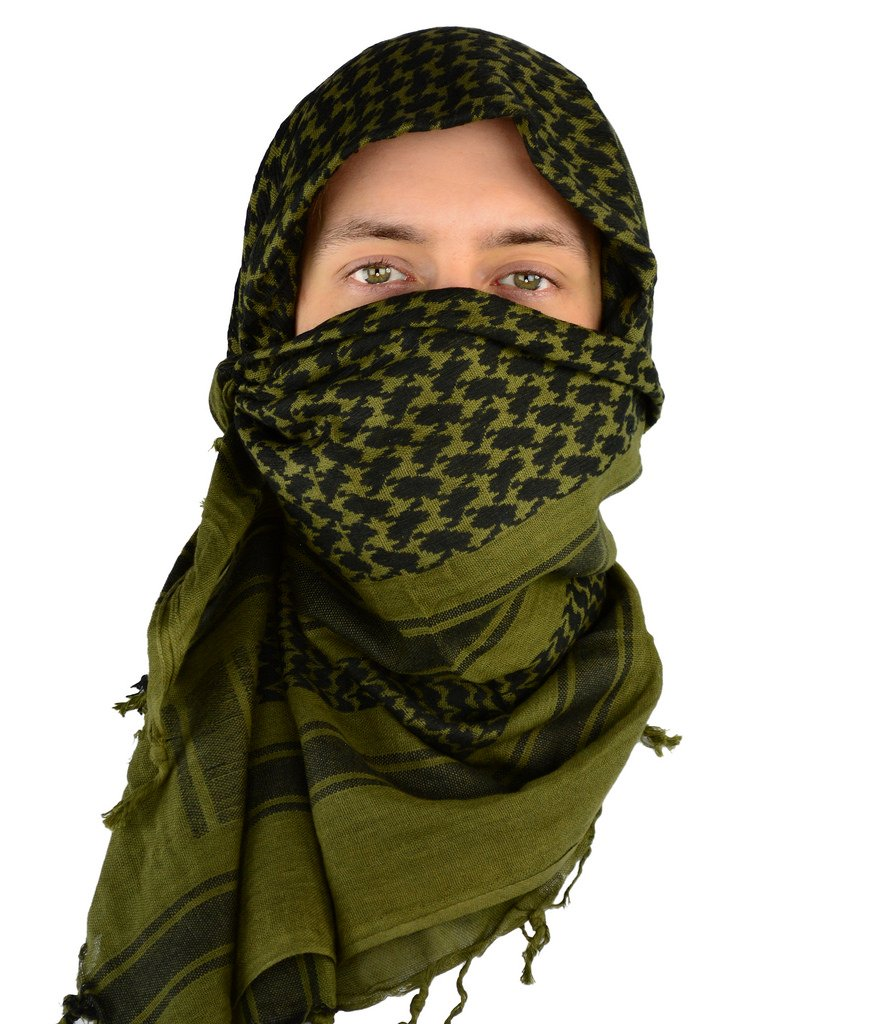 Mato & Hash Military Shemagh Tactical 100% Cotton Scarf Head Wrap - Olive Drab CA2100-3