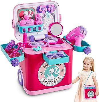 Buyger 4 en 1 Maletin Maquillaje Juguete Infantil Belleza Joyería Peluqueria Juegos de Imitación para Niño Niña 3 4 5 Años: Amazon.es: Juguetes y juegos