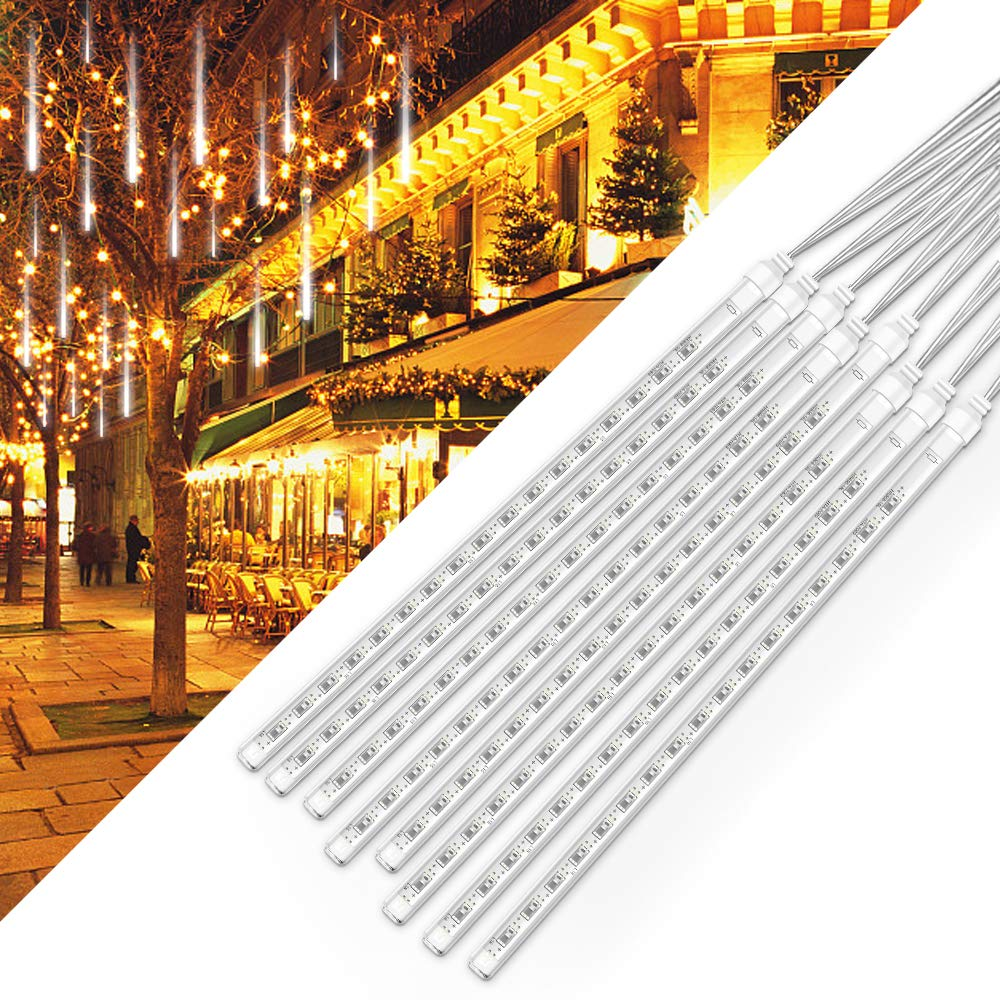 soled Rain Lights LED Meteor Shower Rain Lights 11.8 inch 8 Tubes Outdoor Waterproof Drop Icicle Snow Falling Raindrop Cascading String Lights for Party Wedding Christmas Tree Decoration White