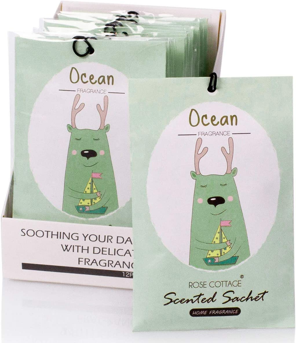 Rose Cottage 12Packs Ocean Closet Air Freshener Deodorizer Scented Sachets Bags for Drawer and Closet 16 Scents Optional Xmas Gift Set A-01