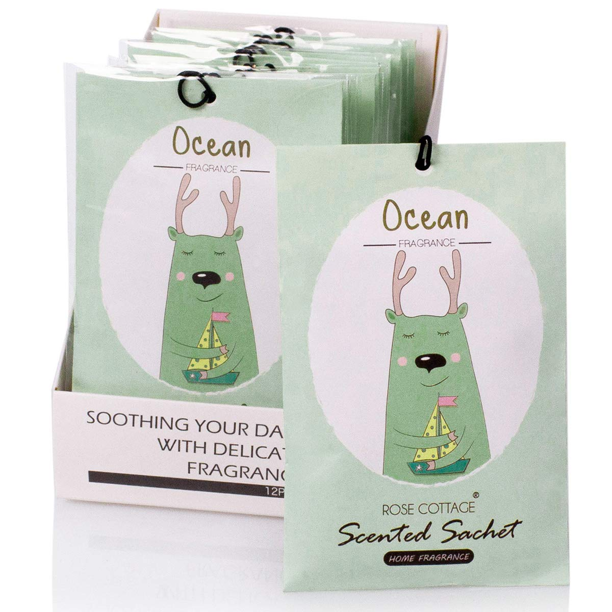 12Packs Ocean Closet Air Freshener Deodorizer Scented Sachets Bags for Drawer and Closet 16 Scents Optional-ROSE COTTAGE by Rose Cottage