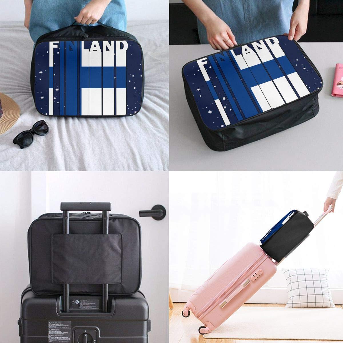 Finland Flag Word Luggage Bag Capacity Portable Large Travel Duffel Bag Makeup Storage