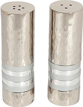 Yair Emanuel Juego de salero y pimentero, níquel martillado – anillos de plata (sab