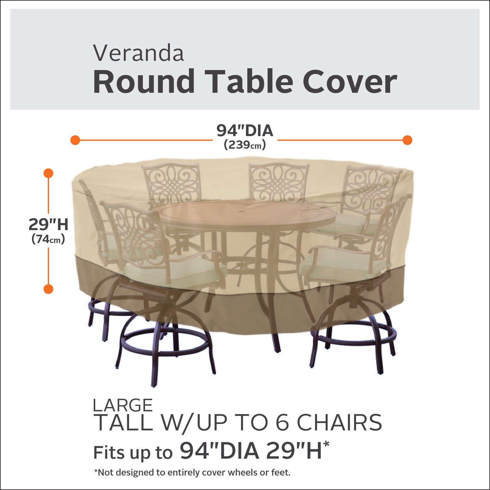 Classic Accessories Veranda Tall Round Patio Table & Chairs Cover, Large by Classic Accessories (Image #2)