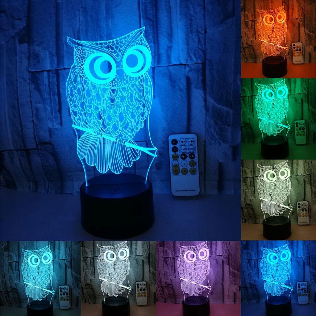 LEDナイトライト子供、3dイリュージョン7色を変更リモートコントロールまたはタッチ使用USBデスクランプ子供寝室家庭用ホーム装飾ギフト 6900554302572 B07BYC4VBD  7 colors owl
