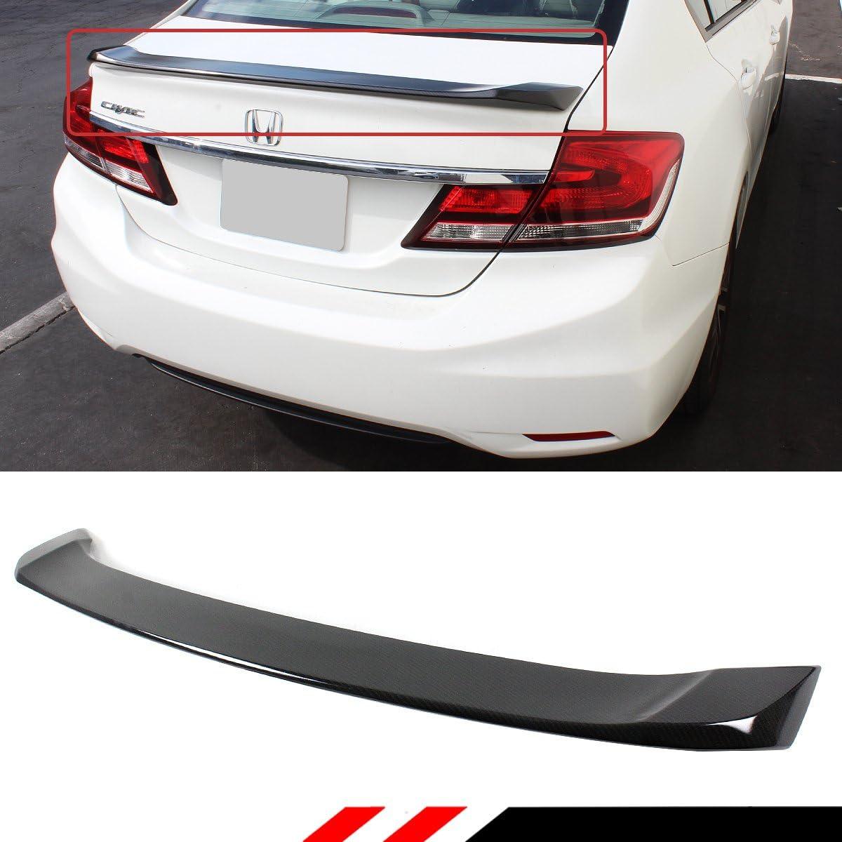Cuztom Tuning Fits for 2012-2015 9th Gen Honda Civic 4 Door Sedan Si Style Glossy Black Trunk Spoiler Wing W//LED Brake Light