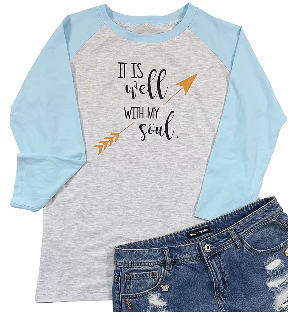 c821b5e0 ❤Feature: It Is Well WITH MY Soul Tshirt For Women, Women Letter Print  Raglan Baseball Tee Shirt Casual, 3/4 Sleeve Raglan Graphic ...